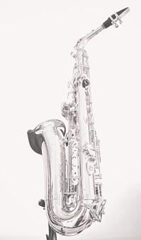 Saxophone, Black And White, Music, Musician, Instrument