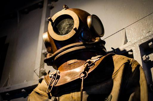 Diving Suit, Old, Historic, Helmet, Scuba, Diver