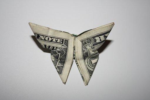 Money, Butterfly, Origami, Dollar, One Dollar, Business