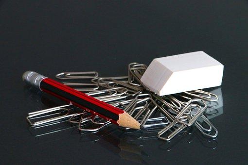 Office Utensils, Paperclip, Eraser, Pencil