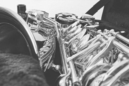 Saxophone, Monochrome, Black And White, Music, Sax