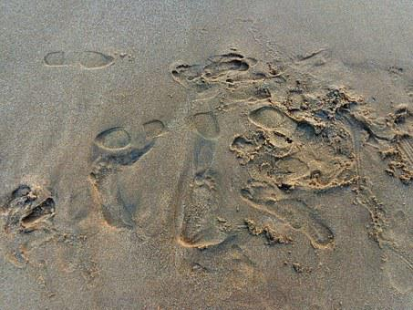 Foot, Prints, Sea, Sand, Beach, Footprint, Coast, Print