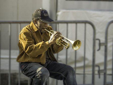Horn, Trumpet, Music, Jazz, Brass, Blowing, Play, Man