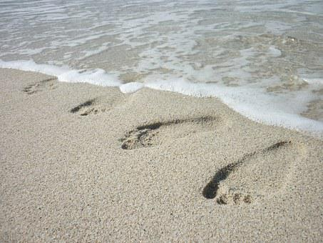 Footprints, Wet Sand, Beach, Summer, Sea, Vacation