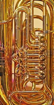 Tuba, Valves, Pipe, Shiny, Instrument, Gold