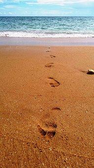 Footsteps, Sand, Beach, Water, Walk, Vacation, Summer