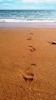 Footsteps, Sand, Beach, Water, Walk, Vacation, Summer