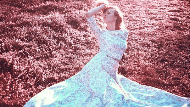 Girl In Garden, In A Long Gown, White Dress, Photoshoot