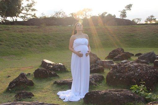 Love, Pregnant Woman, Family, Pregnancy, White Dress