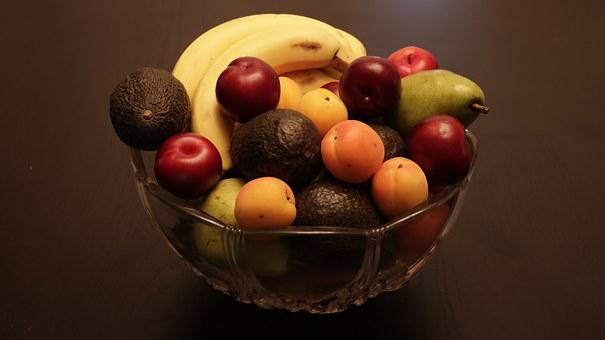 Fruit, Bowl, Fresh, Banana, Apricot, Avocado, Wooden