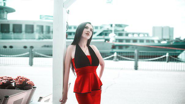 Girl, In A Red Dress, Yacht, Model, Hair