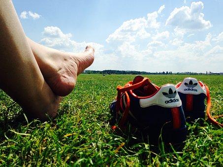 Relax, Feet, Barefoot, Shoe, Grass, Blue Sky, Clouds