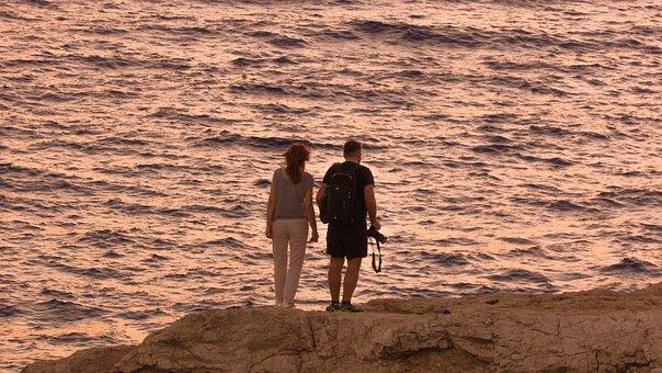 Couple, Romantic, Sunset, Looking, Sea