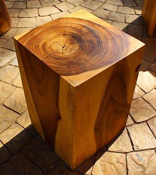 Wood, Block, Wooden, Cube, Wooden Block, Seat, Brown