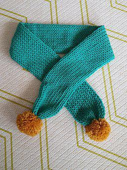 Scarf, Minteusaek, Pom, Knitting, Hand-made, Diy