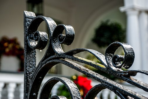 Gate, Fence, Decorative, Wrought, Iron, Spiral, Swirl