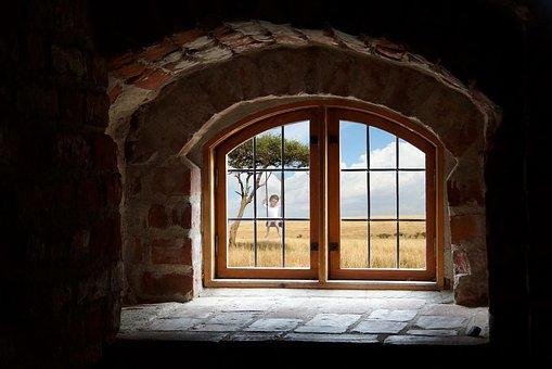 Window, Recess, Clouds, Landscape, Recession