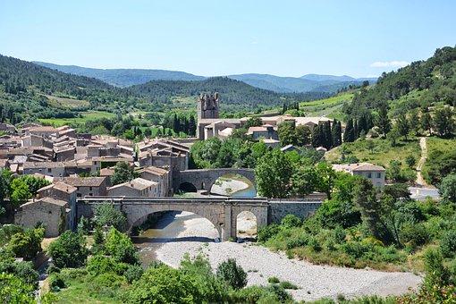 River, Bridge, Village, Lagrasse