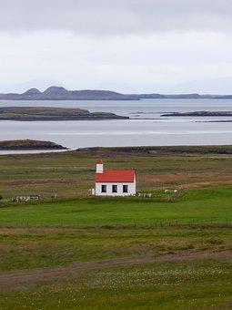 Iceland, Church, Rural, Tundra, Farm, Pasture, Rustic