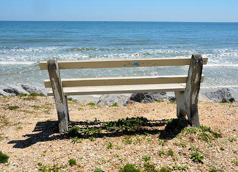 Bench Seat, Beach, View, Seascape, Outdoors, Waves