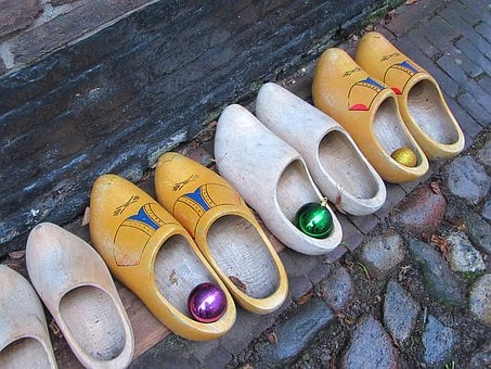 Clogs, Wooden Shoes, Footwear, Christmas Bauble, Row