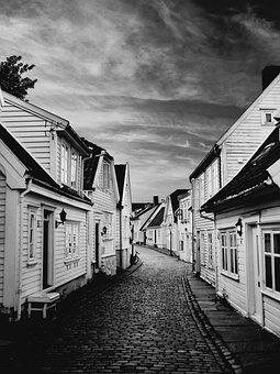 Stavanger, Norway, Old Town, Street, Wooden, Houses