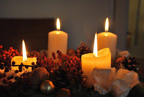 Candles, Advent Wreath, Advent, Christmas, Candlelight
