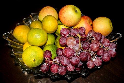 Fruit, Grape, Apple, Mandarin, Basket, Black Background