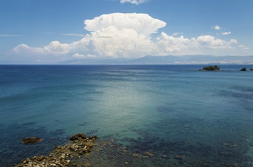 Sky, Sea, Water, Blue, Clouds, Wide, Landscape, Cyprus