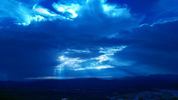 Sunsets, Aguascalientes, Blue Sunset, Night, Rays, Dark