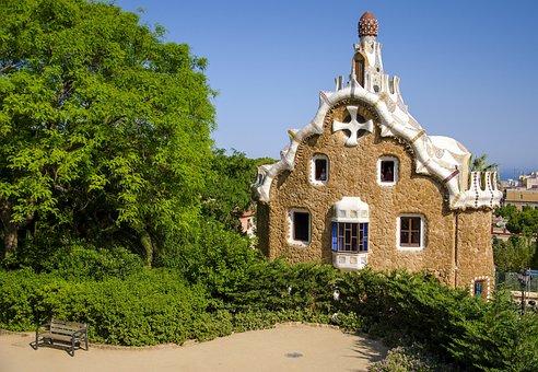 Guell Park, Barcelona, Spain, Catalonia, Gaudi, Mosaic