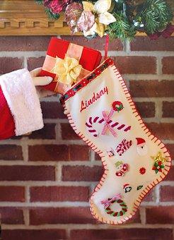 Santa's Arm, Christmas Stocking, Gift, Christmas