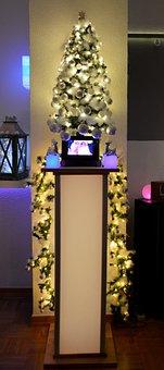 Christmas, Christmas Tree, Pillar, Garland, Fir Garland