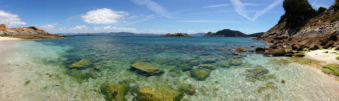 Beach, Paradise, Vigo, Cíes Islands, Sky, Vegetation