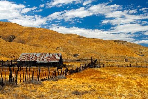California, Ranch, Farm, Sky, Clouds, Landscape
