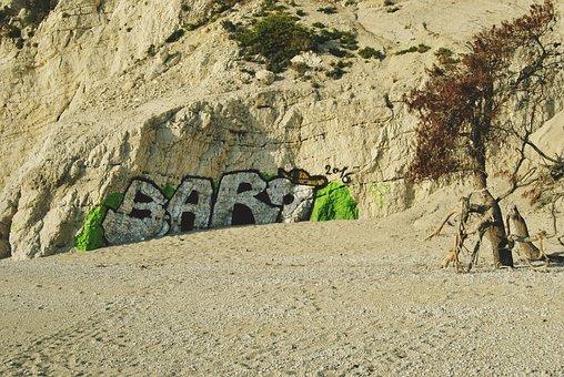 Beach, Graffitti, Paint, Colors, Sand, Greece
