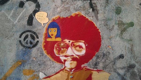 Think, Thinking, Afro, Man And Woman, Graffiti, Comic