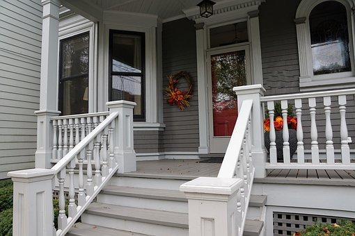 Home, Facade, Wood, Input, Door, Veranda