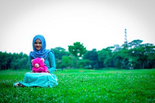 Hijaber, Gorgeous, Doll, Girl, Eurasian, Garden