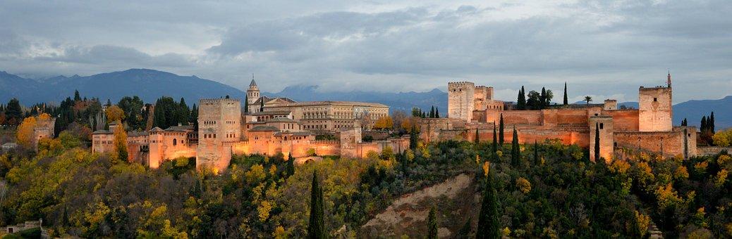 Landscape, Alhambra, Autumn, Palace, Fortress Complex