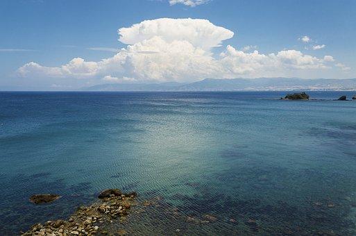 Sky, Sea, Water, Blue, Clouds, Wide, Landscape, Cyprus
