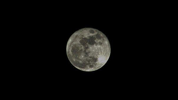 Moon, Full, Full Moon, Night, Sky, Dark, Space, Lunar