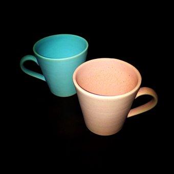 Cup, Pair, Tableware, Tea Cup, Black Background
