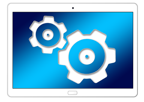 Tablet, Technology, Gears, Work, Team, Together
