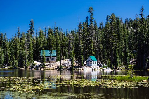 California, Cottages, Cabins, Lake, Water, Reflections