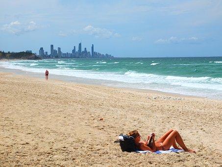 Hai Bian, Girls, Bikini, Beach, Take, Sunbathing, Woman