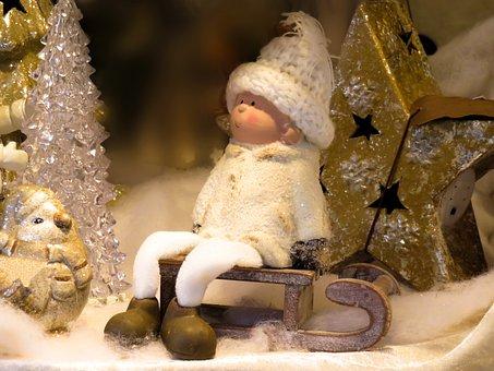 Christmas, Slide, Winter, Snow, Star, Cap, Cold, Doll