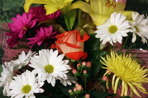 Flower Bouquet, Rose, Daisy, Red, White, Yellow, Pink