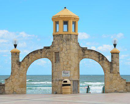 Daytona Beach, Florida, Beach, Ocean, Sky, Travel, Usa