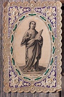 Devotional Picture, Santino, Top Edge, Embroidery